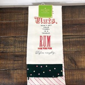 Kate Spade Bah Humbug Christmas Kitchen Towels NEW